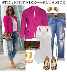 Straight Size to Plus Size Pink Blazer & Jeans Leopard Heels and Clutch with Distressed Boyfriend Jeans Alexa Webb - Curvy Jeans for women - Ideas of Curvy Jeans for women Blazer Jeans, Outfit Jeans, Look Blazer, Blazer And Jeans Outfit Women, Pink Blazer Outfits, Red Blazer, Blazer Dress, Dress Outfits, Mode Outfits