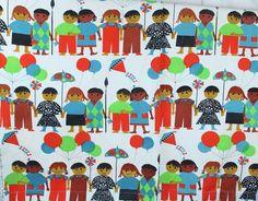 "VTG Canvas International Children Print Handmade 46 x 50"" Curtain Panels Fabric"