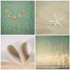 "Beach Photography Set - Books and Beach - Aqua, Teal, Beige, White - Baby Nursery - Coastal Home Decor -8x8 inches - ""ESCAPISM"". $68.00, via Etsy."