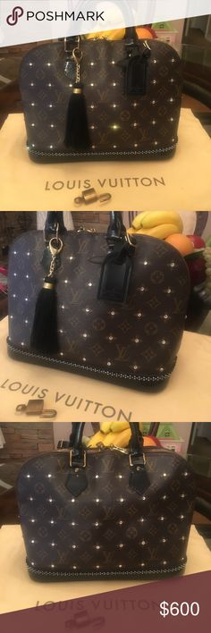 """Authentic Louis Vuitton Alma Custom Dyed Stunning bag bottom and handles dyed black and had crystal elements added for a beautiful bag.    Do not purchase this prior to asking any questions.    Happy to take additional pics.  I video everything I sell for proof of condition so don't think about """"trying it out"""" then returning.  Not an option. Serious buyers only please.   Will come with the dust bag only if purchased at full price.    No other accessories.    If you need more. Just ask…"""