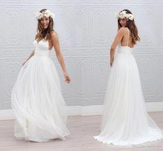 Long Wedding Dresses 2015 Wedding Dresses Cheap V Neck Spaghetti Strap Pleats White Dress Wedding Gowns Zipper Back A Line Tulle Simple Beach Wedding Dresses Beach Wedding Dresses From Click_me, $128.09| Dhgate.Com