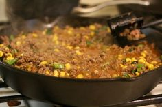 In Texas we love tamales. Texas Tamale Pie is a spin on beef tamales. One of my favorite recipes, and everyone seems to love it, WIN WIN! Raw Food Recipes, Meat Recipes, Mexican Food Recipes, Cooking Recipes, Dinner Recipes, Salad Recipes, Mexican Desserts, Freezer Recipes