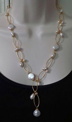Custom Pearl Necklace and Earring Set - Jewelry creation by K. Lynn Designs