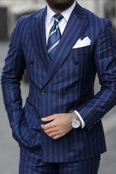 Mens Fashion Suits, Mens Suits, Suit Men, Fashion Outfits, Fall Outfits, Blue Pinstripe Suit, Mode Costume, Bespoke Suit, Classic Suit