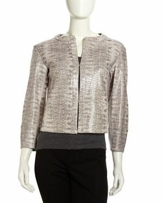 Bricen Snake-Print Lambskin Jacket by Lafayette 148 New York at Neiman Marcus Last Call.