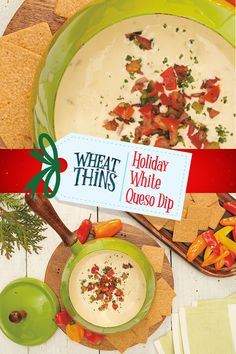 This Holiday White Queso Dip is great for sharing and celebrating the moments that mean most to you and your loved ones. Find this #NabiscoHolidayRecipe and more at www.snackworks.com Mexican Christmas, Christmas Snacks, Homemade Christmas Gifts, Christmas Baking, Vintage Christmas, Chuy's Tortilla Soup Recipe, White Queso Dip Recipe, Small Slow Cooker, Bread Appetizers