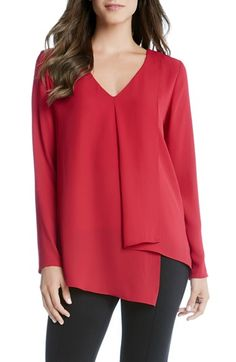 Karen Kane Draped Asymmetrical Top - Red S Blouse Styles, Blouse Designs, Iranian Women Fashion, Sewing Blouses, Nordstrom, Karen Kane, Asymmetrical Tops, Mode Vintage, Casual Tops