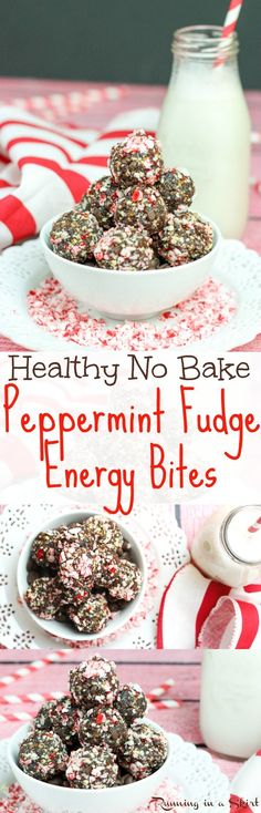 Healthy Peppermint Fudge No Bake Energy Bites recipe.  Easy, clean eating chocolate holiday recipe with dates!  Raw natural sweetness without added sugar. A healthy Christmas cookie idea! / Running in a Skirt