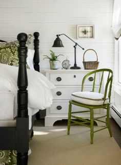 5 Ways to Get This Look:  Cottage Bedroom  in love with the white black & green