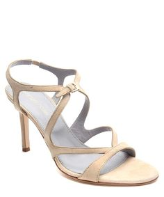 Sergio Rossi Cut-Out Suede Sandals in Neutral, Designer Footwear Sale, The White Collection, Secret Sales