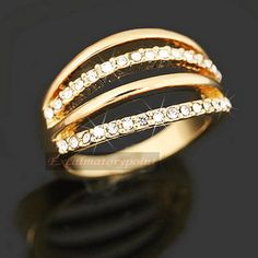 18k Gold Plated Crystal Womens Fashion Wedding Cocktail Ring R35