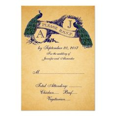 DealsPeacock Vintage Wedding RSVP CARD | BlueWe have the best promotion for you and if you are interested in the related item or need more information reviews from the x customer who are own of them before please follow the link to see fully reviews