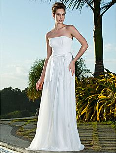 Sheath/Column Strapless Floor-length Chiffon Wedding Dress – USD $ 149.99