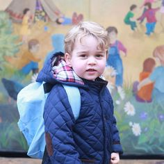 Prince George arrives for his first day at Westacre Montessori School nursery in Norfolk today.  The Duke and Duchess of Cambridge have released two photographs to mark the occasion. They show Prince George standing in front of the mural on the outside of the nursery building.  Photograph ©The Duchess of Cambridge
