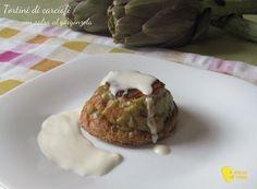 Tortini di carciofi con salsa al gorgonzola ricetta raffinata il chicco di mais