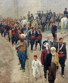 Turkish soldiers and civilians in Niğbolu/Nikopol (north Bulgaria).  1877.  A detail of 'The Ottoman capitulation at Niğbolu in 1877', a painting by Nikolay Dmitriev.
