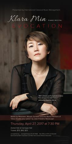Klara Min, piano/EVOCATION, Zankel Hall. https://www.carnegiehall.org/Calendar/2017/4/27/0730/PM/Klara-Min-Piano/ Designed by ycArt design studio