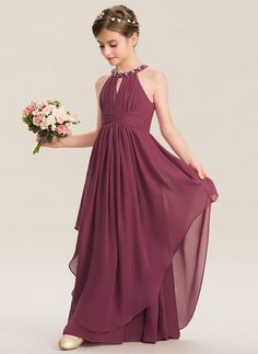 a3b766524f A-Line Scoop Neck Floor-Length Chiffon Junior Bridesmaid Dress With Ruffle  Beading (