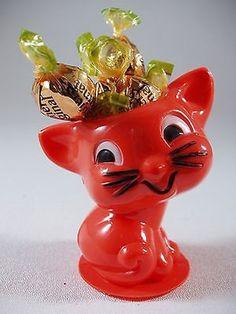 Vtg Rosen Rosbro Halloween Kitty Cat Candy Bright Orange Hard Plastic (12/03/2013)