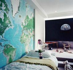 wereldkaart behang  - (re)Pinned by www.leuke-kinderkamer.nl