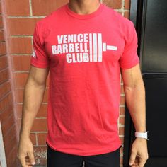 Image of Men's Red Venice Barbell Club Shirt