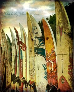 Surf City.surfboard photo beach surfer print maui hawaii summer