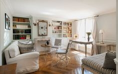 Love the decor of this Parisian Living room 1-bedroom rental apartment in Paris near Musée d'Orsay