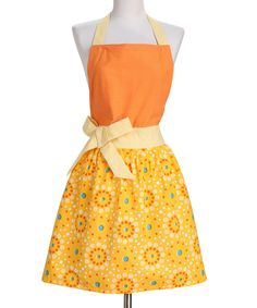 Tangerine Yellow Retro Chic Floral Dot Apron