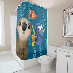 Finding Dory shower curtain featuring Dory, Nemo and Otter #Ad