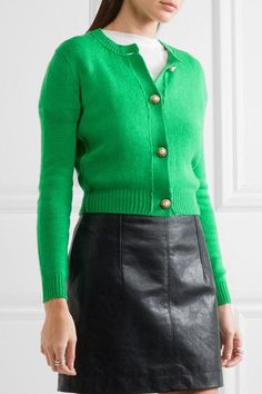 Green cashmere Button fastenings through front 100% cashmere Dry ...