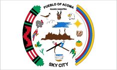 Acoma Pubelo tribal flag (Haaku). Acoma Pueblo is situated on top of a mesa, hundreds of feet above the surrounding land. It commands a breath-taking view of the countryside, other mesas and the distant mountains.