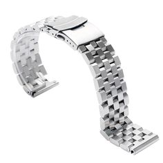 High Quality Silver 24mm Width Solid Stainless Steel Link Watch Band Strap For Business Watches  #Affiliate