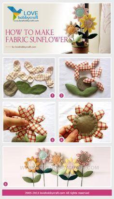 craft tutorials: How to make fabric sunflowers