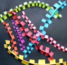 Movement, Pattern Zippers - Fold strip in half, cut to the fold, fold tabs in opposite directions. Gr 1-3