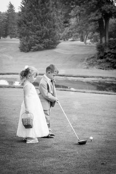 Golf Course Having a flower girl and a ring bearer at your wedding? Take advantage of capturing a picture like this! Ask the Pro Shop for a kids golf club, tee and golf ball. Golf Wedding, Wedding Pictures, Free Wedding, Wedding Ideas, Golf Photography, Wedding Photography, Kids Golf Clubs, Club Face, Best Golf Courses