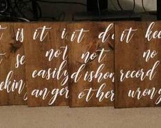 Set of 10 Wedding Aisle Signs 1 Corinthians 13 Wedding Signs Wedding Signage, Rustic Wedding, Wedding In The Woods, Our Wedding, Wedding Aisle Decorations, Wedding Favours, Love Does Not Envy, Aisle Markers, Love Never Fails