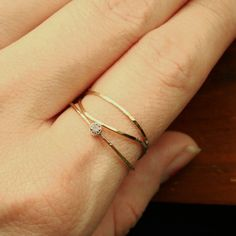 Set of three delicate gold stack rings- One with a stone of choice