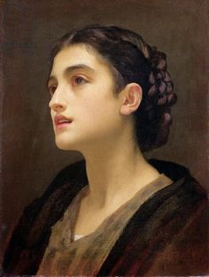 "Frederic Leighton, ""Study of a Lady"".  What an interesting face she has!"