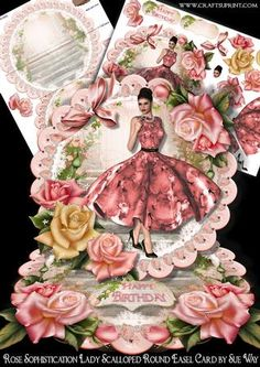 Rose Sophistication Lady Scalloped Round Easel Card Mini Kit on Craftsuprint designed by Sue Way - A luxurious round easel card with a pretty lady in a peach floral 1950's style dress, with a flared skirt. She is framed by beautiful plump peach roses on a pretty scalloped frame.This unusual design is simple to make, but looks so effective