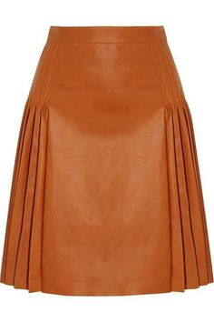 Shop Givenchy Pleated Leather Skirt in Light brown at Modalist Real Leather Skirt, Leather Skirts, Modest Fashion, Fashion Outfits, Fashion Fashion, Givenchy Women, Orange Skirt, Elegant Outfit, Mode Style