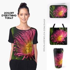 Bring Home Spring with Dazzling Ice Plant Flowers Tops Totes Bags Laptop Sleeves and Much More!  These ubiquitous landscape plants here is Los Angeles can put on quite a Dazzling display especially when you get up close.  Available exclusively from DouglasEWelch.  Chiffon Top Features  Front panel is edge-to-edge custom printed just for you  Sublimation transfer print technique embeds dye into the fabric allowing it to stay soft and drapey  Option of black or white back panel sleeves and…