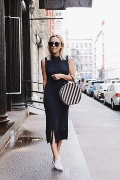 Top: damsel in dior blogger dress black dress sweater dress fringes fringed dress white shoes navy