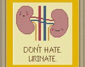 We make pee: nerdy kidney cross-stitch pattern. via Etsy.