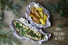 dorsz-pieczony-w-folii-z-czosnkiem-i-koperkiem Gluten Free Diet, Gluten Free Recipes, Healthy Recipes, Meal Recipes, Polish Recipes, Recipe Images, Avocado Toast, Grilling, Food And Drink