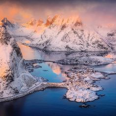 Beautiful Olstind looks completely different from different angles especially if you fly below the mountains level. Danielkordan.com #lofoten #Norway #Reine #Olstinden by danielkordan