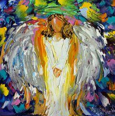 Original Little #Angel palette knife painting by Karensfineart
