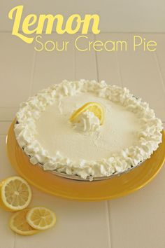 Yummy lemon sour cream pie! ... hands down the BEST pie you will ever taste! You will not regret pinning this one!