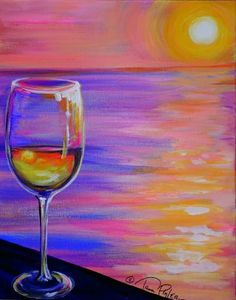 """""""SUNSET WINE GLASS"""" painting at THE BRASS TAP on Panama City Beach! 