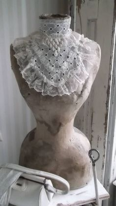 looks like eyelet fabric and lace....my Mother made some of the prettiest dresses from eyelet fabrics when I was a girl.....b