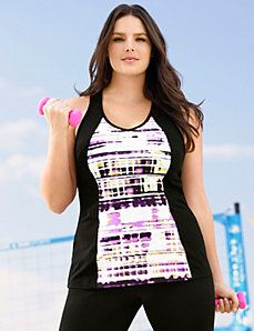 3219a677cfc Printed back interest active tank Plus Size Workout